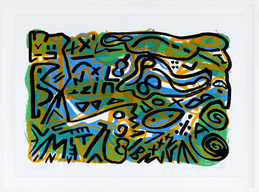 A.R. PENCK - Estampe-Multiple - Weltbild blau-grün