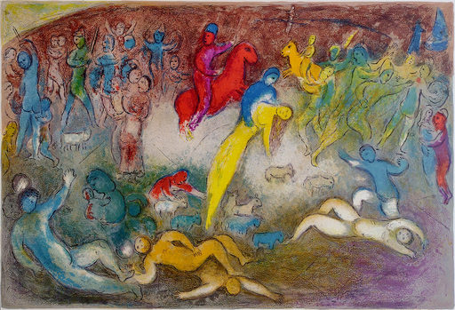 Marc CHAGALL - Stampa-Multiplo - Chloe is Carried off by the Methymneans: Daphnis & Chloe