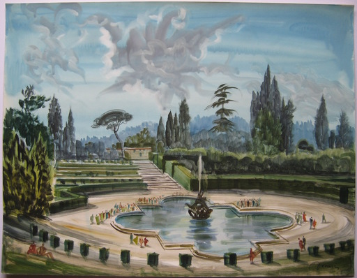 Albert DECARIS - Dibujo Acuarela - DESSIN AQUARELLE SIGNÉ CRAYON HANDSIGNED WATERCOLOR DRAWING