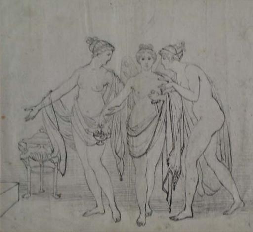 "Moritz VON SCHWIND (Attrib.) - Dessin-Aquarelle - ""Three Graces"", early 19th Century"