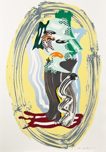 Roy LICHTENSTEIN - Stampa Multiplo - Green Face, from Brushstroke Figures Series