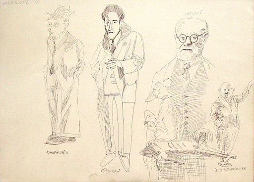 Red GROOMS - Disegno Acquarello - Portraits de Sabartès Cocteau Matisse Kahnweiler