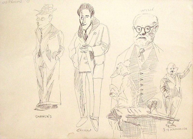 Red GROOMS - Dibujo Acuarela - Portraits de Sabartès Cocteau Matisse Kahnweiler