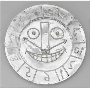 Pablo PICASSO - Sculpture-Volume - Visage en forme d'Horloge