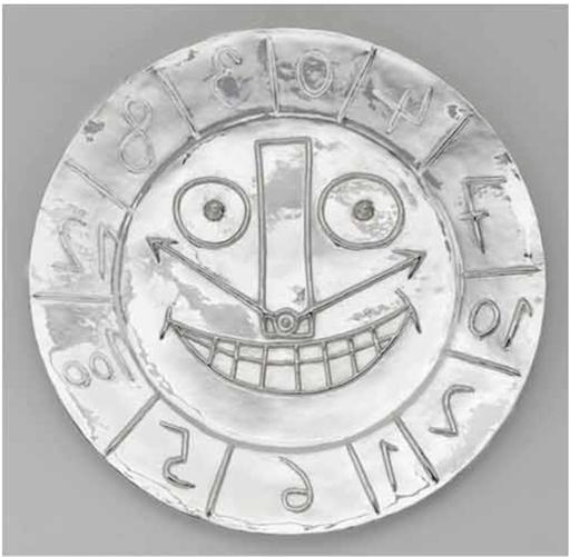 巴勃罗•毕加索 - 雕塑 - Visage en forme d'Horloge