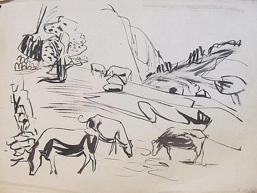 Erich HARTMANN - Dessin-Aquarelle - #19928: Kühe im Gebirge (Norwegen)