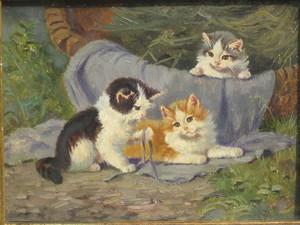 Benno KÖGL - Pintura - Drei um einen Korb spielende Kätzchen