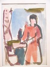 Erich HARTMANN - Dibujo Acuarela - Stehende Frau