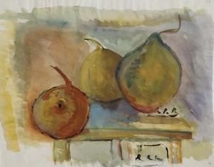 "Rudolf Raimund BALLABENE - Pittura - ""Still Life with Pears"", Watercolour, ca 1930"