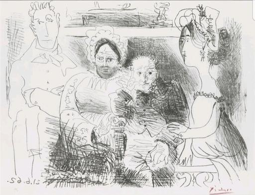 Pablo PICASSO - Stampa Multiplo - Portrait de Famille, Homme aux Bras Croisés