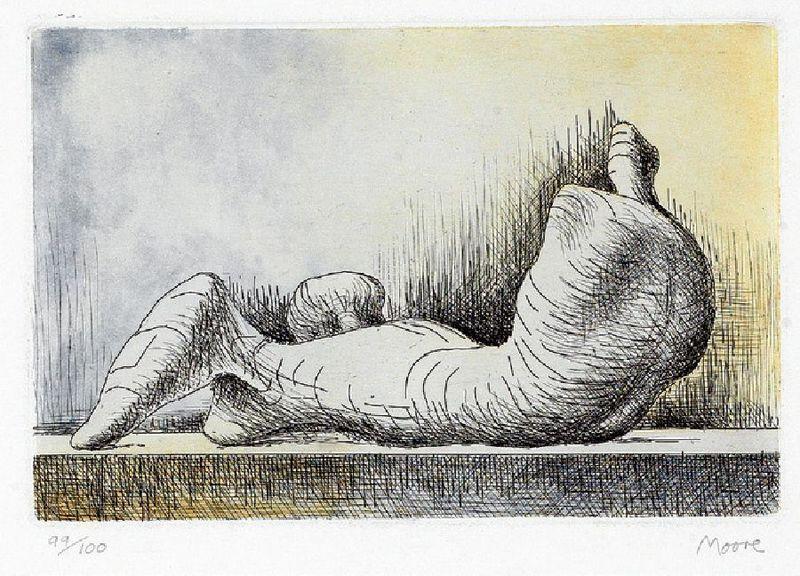 亨利•摩尔 - 版画 - Reclining figure back