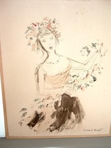 Roland OUDOT, Jeune fille aux fleurs