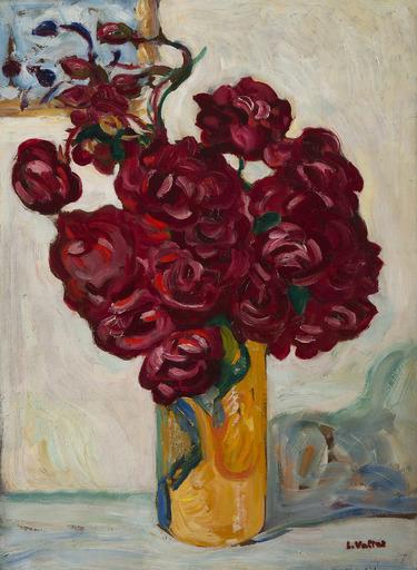 Louis VALTAT - Pintura - Vase de fleurs rouges sur fond jaune