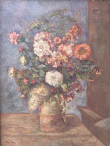 Léon WEISSBERG - Pittura - Fleurs dans un pot de gres sur une table