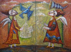 Katherine MULLER - Painting - Catching the Birds