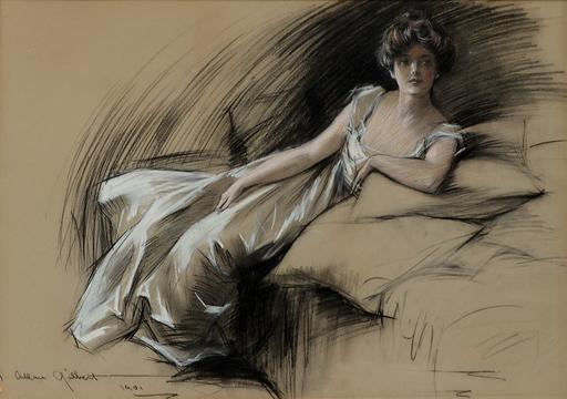 Charles Allan GILBERT - Drawing-Watercolor - Portrait of an elegant lady