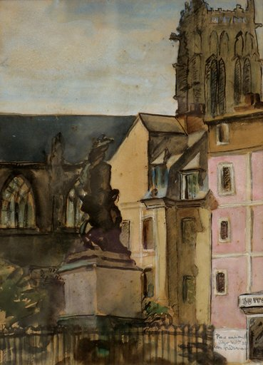 "Charles Pierre BERNARD - Drawing-Watercolor - ""LA PLACE NATIONALE A DIEPPE"""
