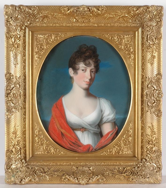 """Johann Heinrich SCHRÖDER - Miniatur - """"Duchess Marie Brunswyck-Wolfenbuettel"""", Important Pastel"""