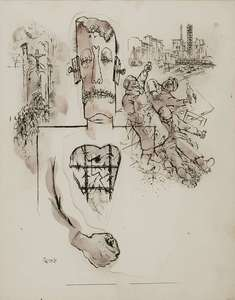George GROSZ - Disegno Acquarello - Stickmen