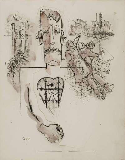 George GROSZ - Dessin-Aquarelle - Stickmen