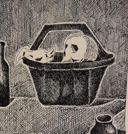 Cristino DE VERA REYES - Drawing-Watercolor - Cesto con craneos