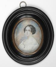 "Karl VON SAAR - Miniatur - ""Portrait of a lady"" miniature on ivory, 1840s"