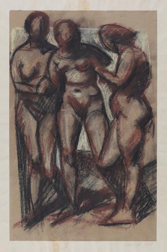Edmund Daniel KINZINGER - Disegno Acquarello - Drei weibliche Akte, stehend.