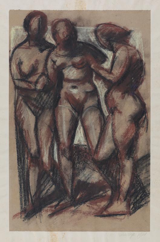 Edmund Daniel KINZINGER - Drawing-Watercolor - Drei weibliche Akte, stehend.