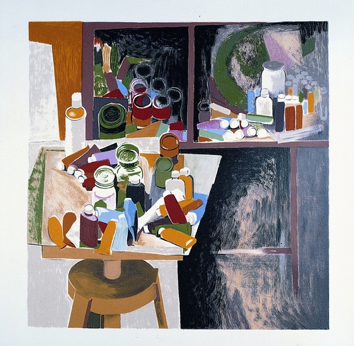 Renato GUTTUSO - Estampe-Multiple - Interno dello studio con barattoli