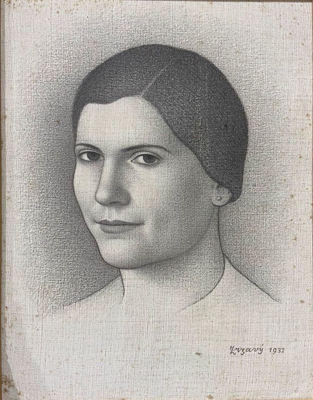 Jan ZRZAVY - Painting - Portrait of a Woman,Portrét slečny Tydlitátové   1932