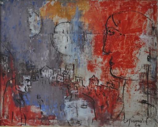 Franco ROGNONI - Pittura - Paese con due lune