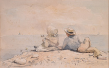 Winslow HOMER - Drawing-Watercolor - Untitled (Couple at the Beach)