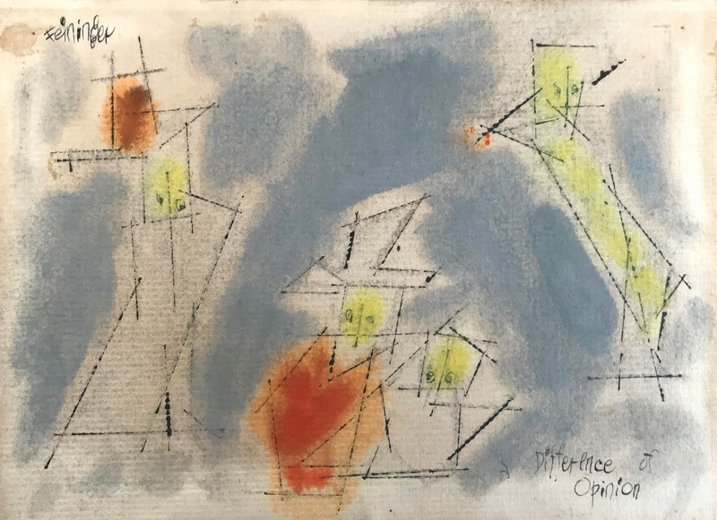 Lyonel FEININGER - Drawing-Watercolor -  A Difference of Opinion