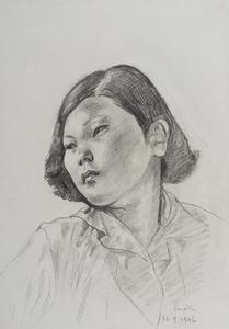 Tsuguharu FOUJITA - Dessin-Aquarelle - Portrait de jeune japonaise