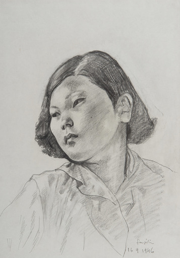 Tsuguharu FOUJITA - Zeichnung Aquarell - Jeune femme asiatique