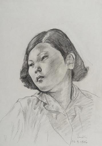Tsuguharu FOUJITA - Drawing-Watercolor - Portrait de jeune japonaise