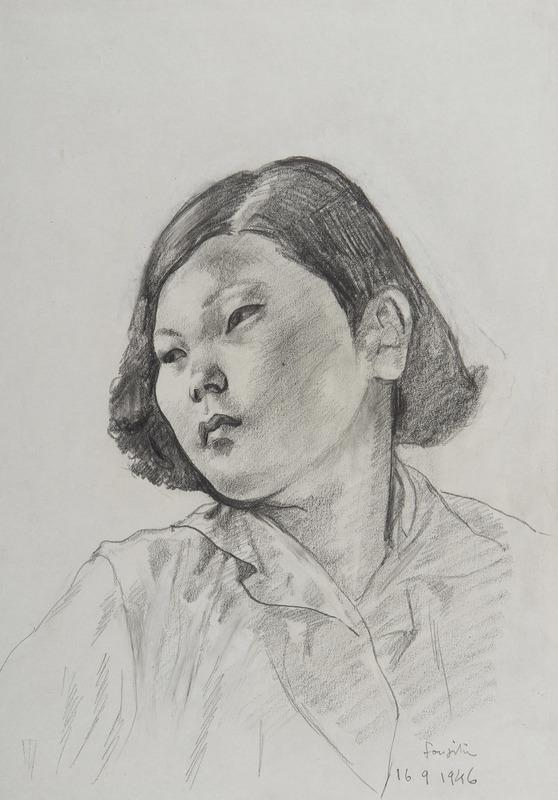 Tsuguharu FOUJITA - Disegno Acquarello - Jeune femme asiatique