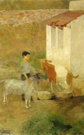 Umberto BOTTAZZI - Gemälde - Contadino con capre (1925)