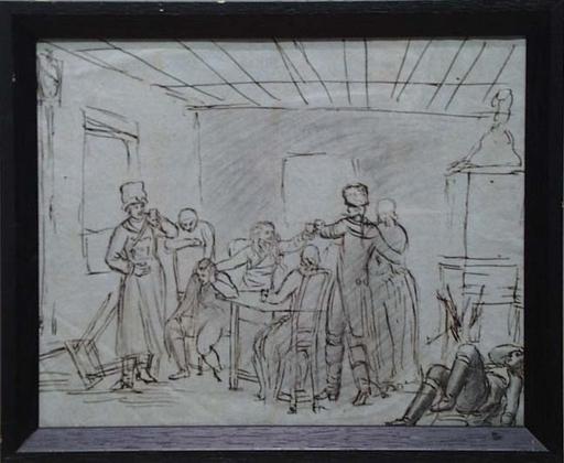 "Johann Heinrich RAMBERG - Drawing-Watercolor - ""Carousing"""