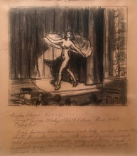 "Edward HOPPER - Drawing-Watercolor - Study for ""Girlie Show"""