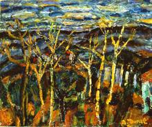 Auguste DUREL - Painting - Soir sur les montagnes de Provence