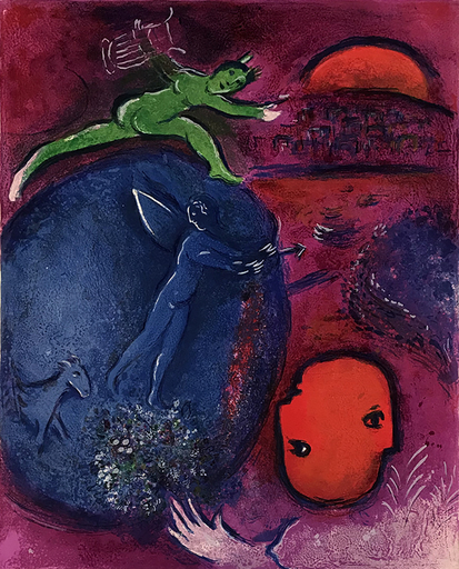 Marc CHAGALL - Estampe-Multiple -  Lamon and Dryas' Dream, from: Daphnis and Chloe