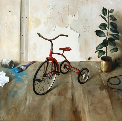 Dmitry YUZEFOVICH - Painting - Red Tricycle