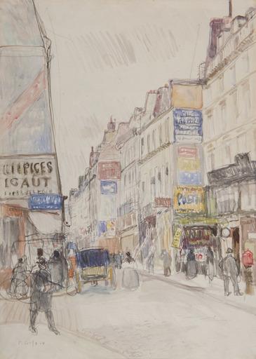 Raoul DUFY - Dibujo Acuarela - La rue Vieille du Temple à Paris