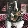 Jorge VALLEJOS - Painting - Vaquita con Guitarra