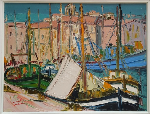 Ernest AUDIBERT - Painting - Chalut à Martigues