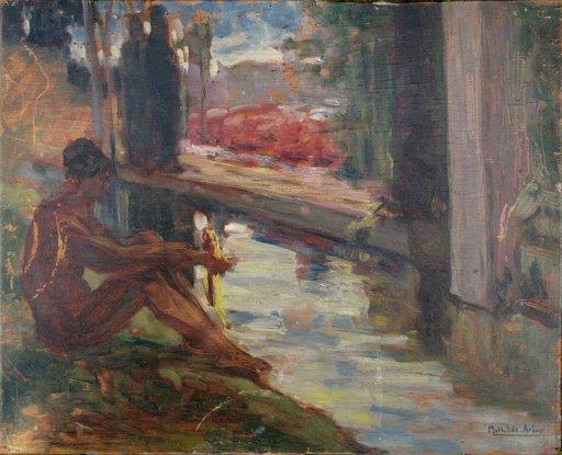 """Mathilde ARBEY - 绘画 - """"HOMME NU AU BORD DE LA RIVIERE'/""""LECTURE"""""""