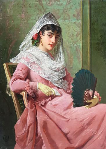 Edward Charles BARNES - Pittura - A Spanish Beauty