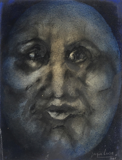 Jacques LUCAS - Drawing-Watercolor - Portrait lunaire