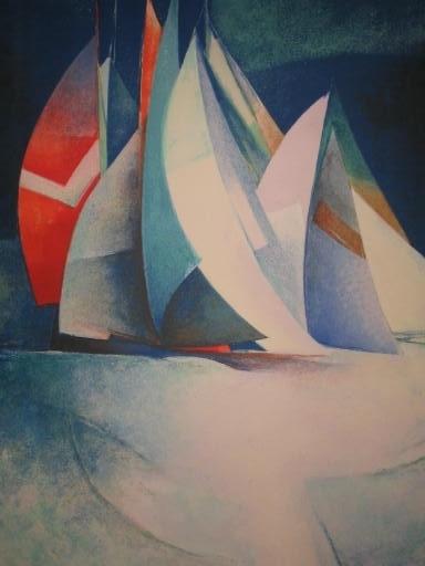 Claude GAVEAU - Grabado - Les voiles.1990.